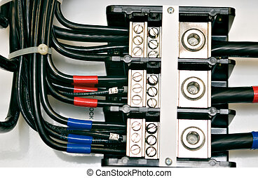 Panel Wiring - Close up shot of an electrical panel wiring...