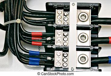 panneau, câblage