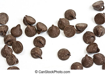 chocolate chip - tasty chocolate chips on a white background