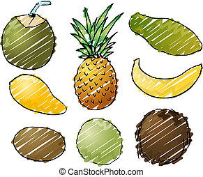 Tropical fruits illustration - Illustration of tropical...