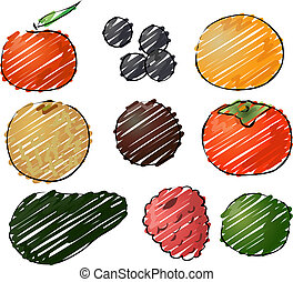 Fruits illustration - Illustration of fruits, hand-drawn...