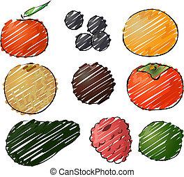 frutte, illustrazione