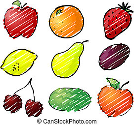 Fruit illustration - Illustration of fruits, hand-drawn look...