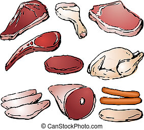 Raw Meat - Various cuts of raw meat hand-drawn lineart...