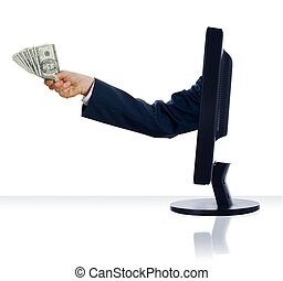 Money - business arm sticking out of a computer monitor