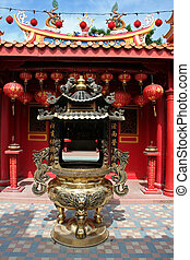 Chinese temple - Traditional chinese temple red design with...