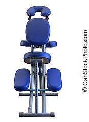 Massage Chair (isolated) - Blue Massage Chair from low front...