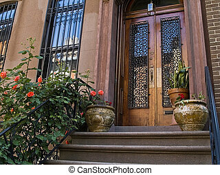City Stoop - A front porch on an old New York City...