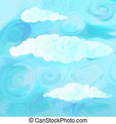 swirly sky - swirly blue paint textured cloudy sky...