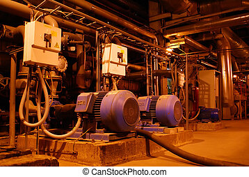pumps on power plant - inside of energy plant