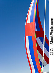 Red, White and Blue Spinnaker - A red, white and blue...