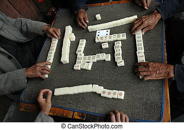 Chinese game - Hands of gamblers