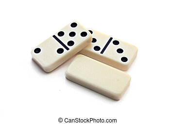 dominoes - a picture of three isolated dominoes