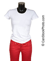 White T-short and red jeans on a white background