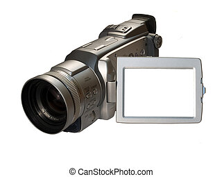 digital camcorder with empty frame on the screen, ready for...