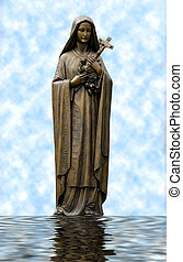 Mary - Picture of Mary against clouds and water