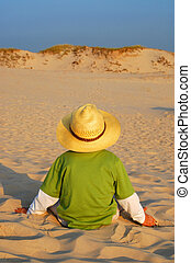 Boy and sand, summer holidays, concept
