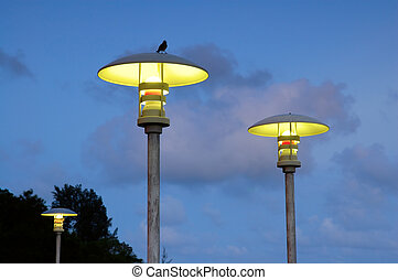 Street lamps - The moderm street lamps over blue sky