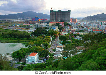 Taipa village and casino - The view of taipa village and an...