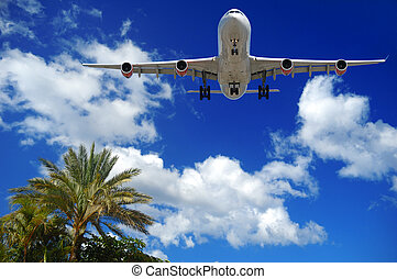 Plane at exotic destination - Plane is about to land at an...