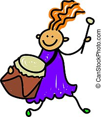 drum kid - happy little girl playing a drum - toddler art...