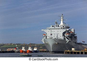 Large Ship Docked - Large Ship docked alongside fishing...