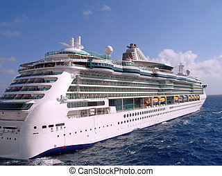 big cruise ship on ocean waters