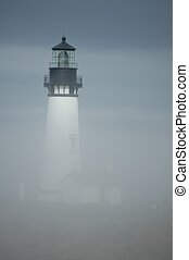 Yaquina Head Light in Fog - Yaquina head lighthouse Oregon,...