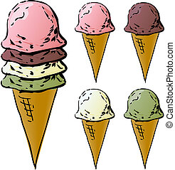 Ice cream cones illustration, various flavors lineart...