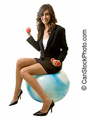 Fit business woman - Attractive brunette smiling business...