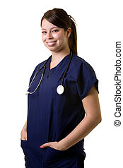 Young nurse - Confident Hispanic woman healthcare worker...