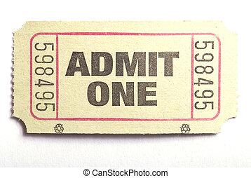 admitir, Uno, boleto