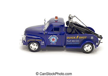 Old towing truck - series object on white - toy - towing...