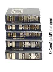 pile books - series object on white - bound books