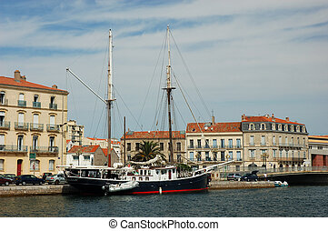 Clipper in Sete, France - Clipper in the harbor of Sete,...
