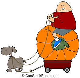 Pumpkin Rider - This illustration depicts a boy riding a...