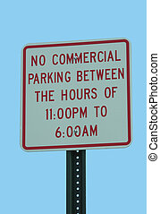 No Parking Sign - No commercial Parking Sign against blue...