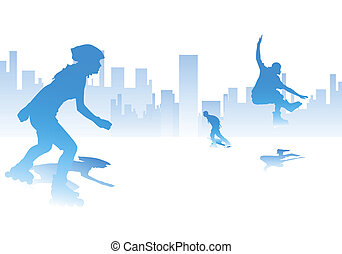 urban rollerblade - young adults on the street, sport...