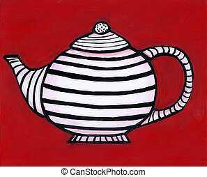 Striped teapot - Painting / illustration of a black and...