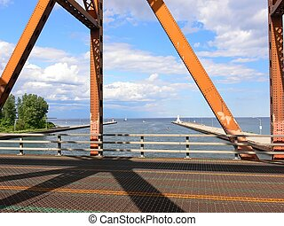Old lift bridge - The view trough an loft bridge over the...