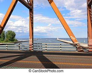 Old lift bridge - The view trough an loft bridge over the...