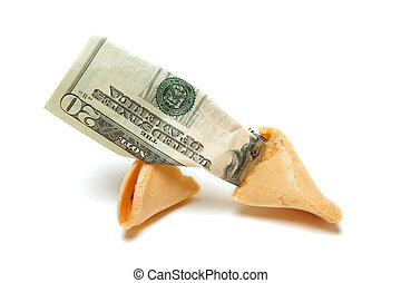 Fortune cookie - A shot of fortune cookie containing money