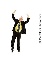 Businessman gestures - A businessman raises his arms in...