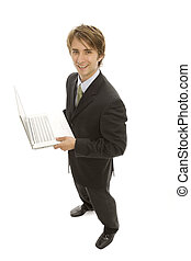 Businessman Laptop - A businessman with a laptop smiles