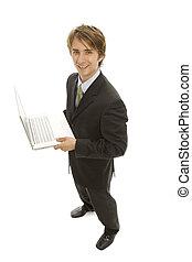 Businessman Laptop - A businessman with a laptop smiles
