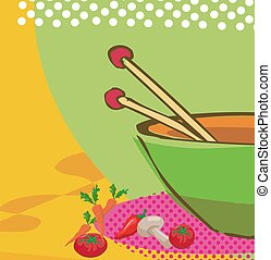 Cooking - Illustration of cooking vegetables