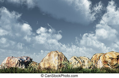 rocks - stones, grass and cloudy sky - 3d illustration