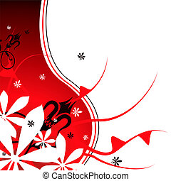 red petal - Floral abstract background in red and black with...