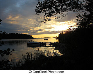 Pier in sunset 3 - Pier in sunset in the archipelago in...