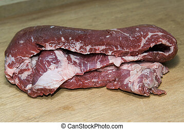 skirt steak meat beef close up raw on butcher\\\'s cutting...